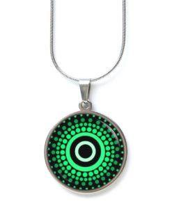 Edelstahl Kette grün schwarz gemustert Punkte Mandala