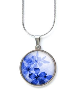 Edelstahl Kette blaue zarte Blumen im Aquarell Stil