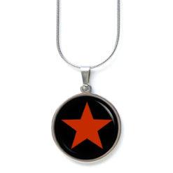 Edelstahl Kette roter großer Stern auf schwarz