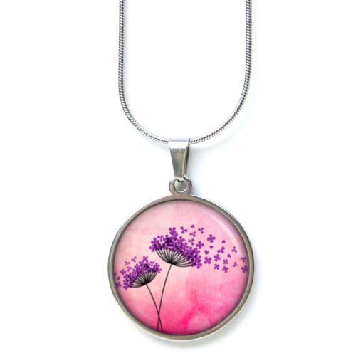 Edelstahl Kette zwei zauberhafte Pusteblumen in violett und rosa
