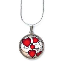 Edelstahl Kette Valentinstag viele rote Herzen Liebe