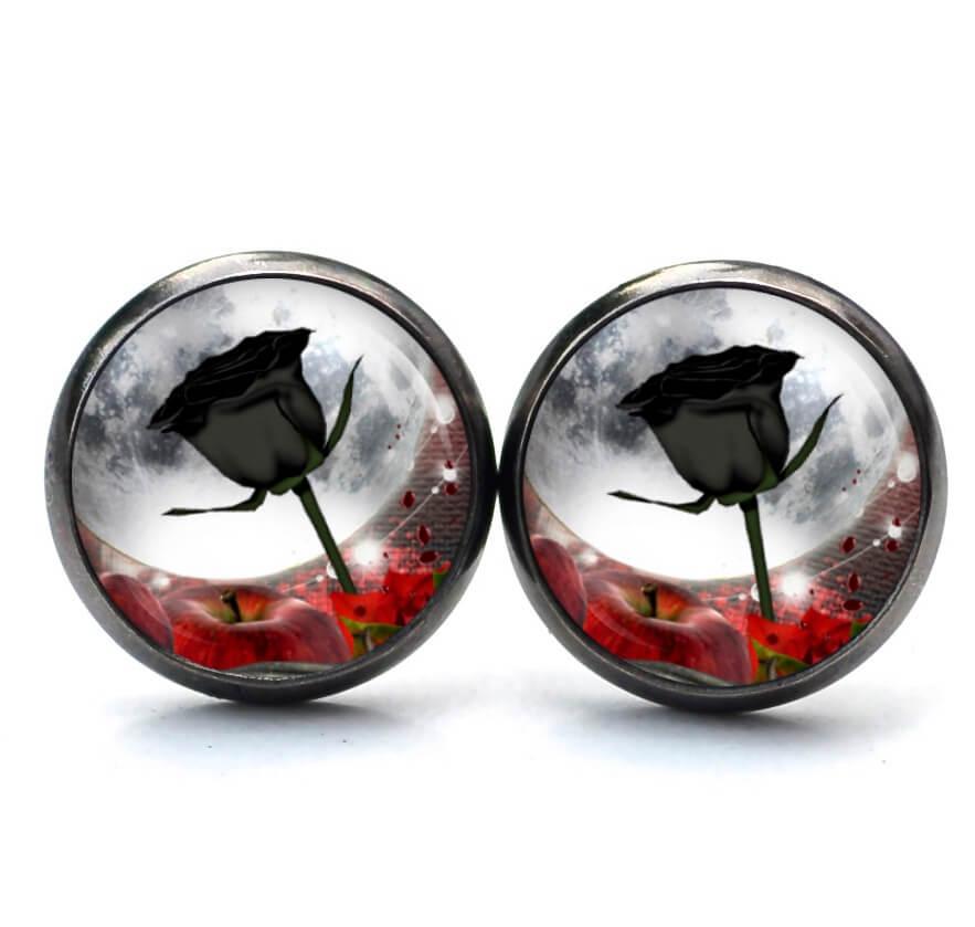 Druckknopf / Ohrstecker / Ohrhänger Steampunk schwarze Rose mit Mond