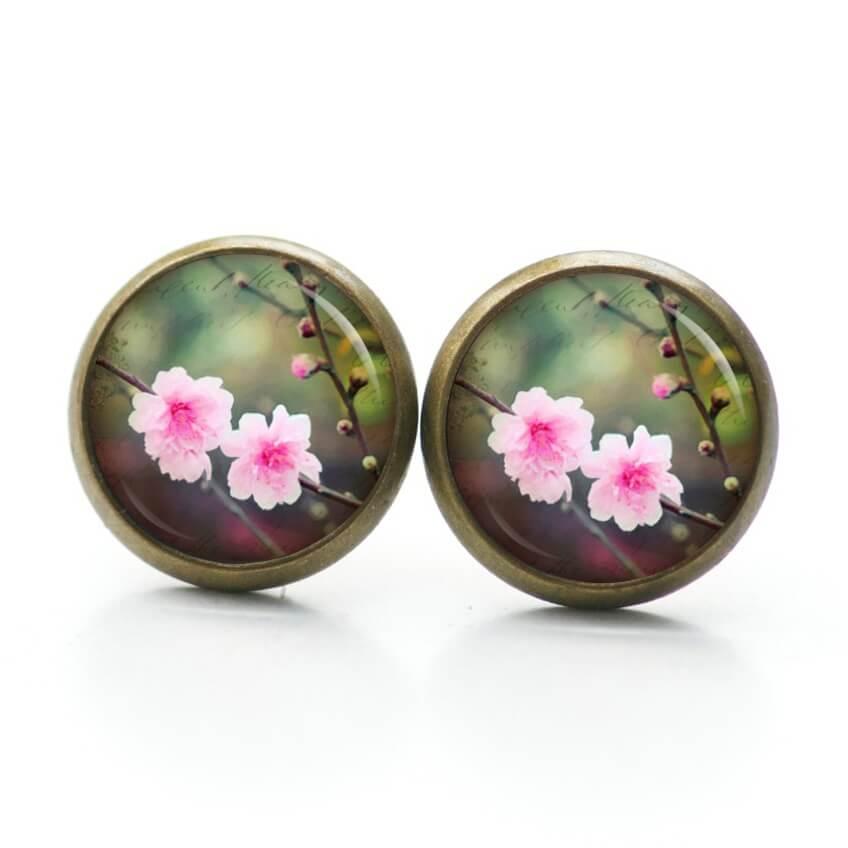 Druckknopf / Ohrstecker / Ohrhänger Frühling Kirschblüten in rosa