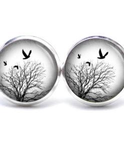 Druckknopf / Ohrstecker / Ohrhänger Baum im Winter mit Vögeln schwarz weiß
