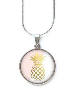 Edelstahl Kette große goldene Ananas in rosa und weiß