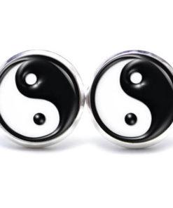 Druckknopf / Ohrstecker / Ohrhänger Ying Yang in schwarz weiß
