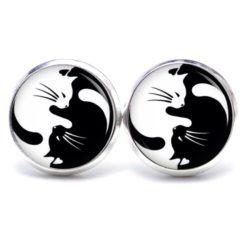 Druckknopf Ohrstecker Ohrhänger Yin Yang Katze schwarz und weiß