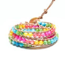 Buntes Leder Wickelarmband mit Perlmutt Perlen