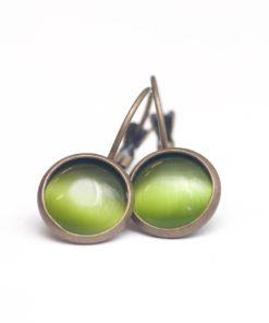Bronzene Cateye Ohrhänger in olivegrün - 10mm