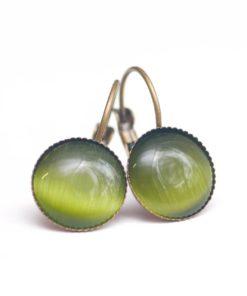 Bronzene Cateye Ohrhänger in olivegrün