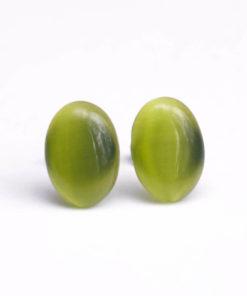 Edelstahl Cateye Ohrstecker oval in olivegrün