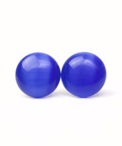 Edelstahl Cateye Ohrstecker dunkelblau in 14mm