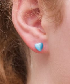 Mini Herz Cateye Ohrstecker hellblau - Edelstahl
