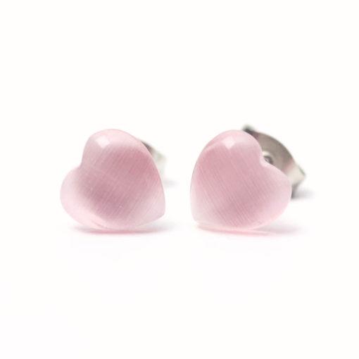 Mini Herz Cateye Ohrstecker rosa - Edelstahl