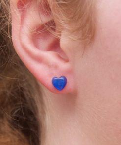 Mini Herz Cateye Ohrstecker blau - Edelstahl