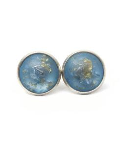 Blau matte Polaris Ohrstecker / Ohrhänger / Ohrclips mit Goldflocken