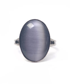 Schwarzer Cateye Ring Oval in anthrazit
