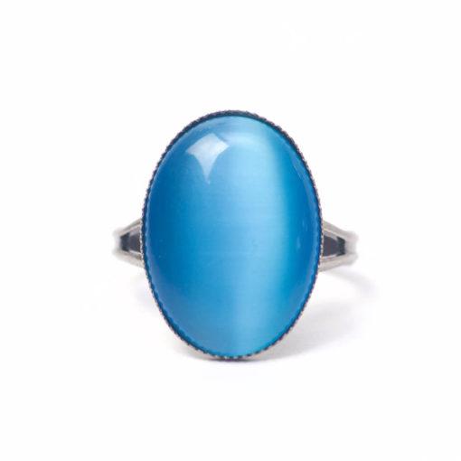 Schwarzer Cateye Ring Oval in blau