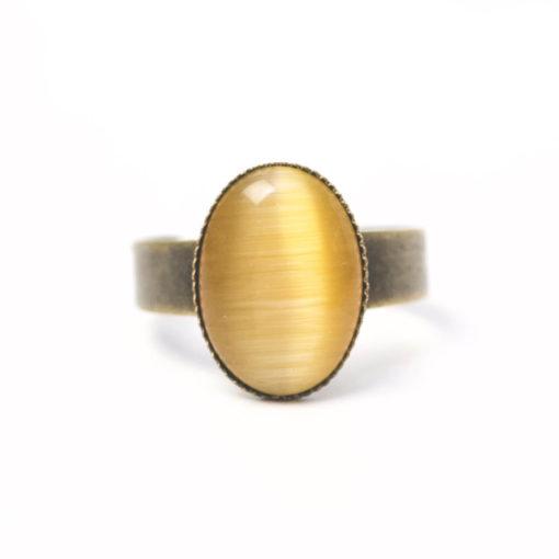 Bronzener Cateye Ring Oval in Sonnengelb