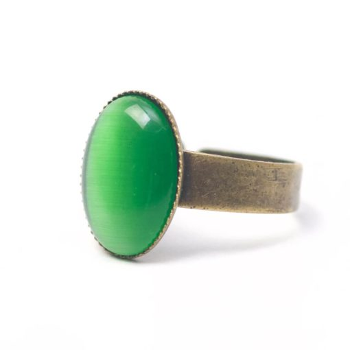 Bronzener Cateye Ring Oval in grün