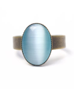 Bronzener Cateye Ring Oval in hellblau
