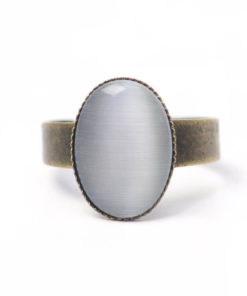 Bronzener Cateye Ring Oval in grau