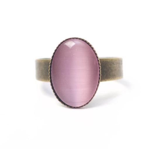 Bronzener Cateye Ring Oval in rosa
