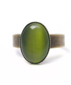 Bronzener Cateye Ring Oval in olive grün