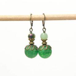 Vintage Ohrringe Bronze mit in grün mit Achat