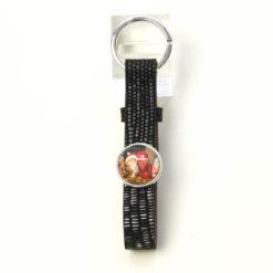 Schlüsselanhänger Leder schwarz grau gemustert mit eigenem Bild