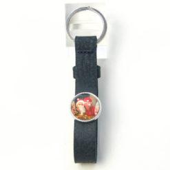 Schlüsselanhänger Leder dunkelblau mit eigenem Bild