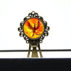 Lesezeichen Klammer großer Phönix in gelb, orange rot