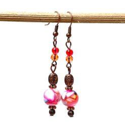 Vintage Ohrringe Kupfer im Hippie Stil mit pink und orange