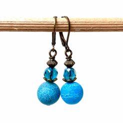 Vintage Ohrringe Bronze mit blau türkisen Achat Perlen