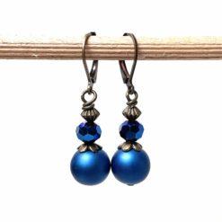 Vintage Ohrringe Bronze mit blauen Glasschliffperlen