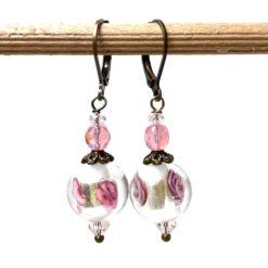 Vintage Ohrringe Bronze rosa mit Rosen Lampwork Perle