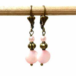 Vintage Ohrringe Bronze mit zart rosa Perlmuttperlen