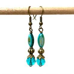Vintage Ohrringe Bronze mit blau türkisen Perlmutt und Glasschliff Perlen
