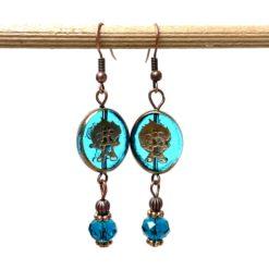 Vintage Ohrringe Kupfer mit Glasperlen in blau türkis
