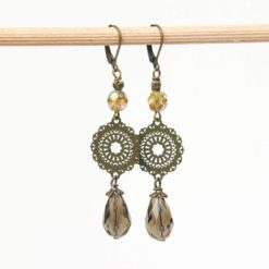 Lange Vintage Ohrringe Bronze im Boho Stil olive grün