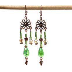 Lange Vintage Ohrringe Kupfer mit grünen Glasschliffperlen