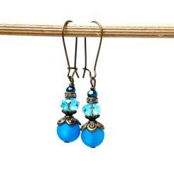 Vintage Ohrringe Bronze mit blauen Polaris und Glasschliffperlen