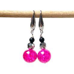Edelstahl Ohrringe im 80er Jahre Disco Stil in pink und schwarz