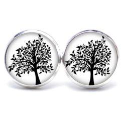 Druckknopf Ohrstecker Ohrhänger schwarz weißer Baum
