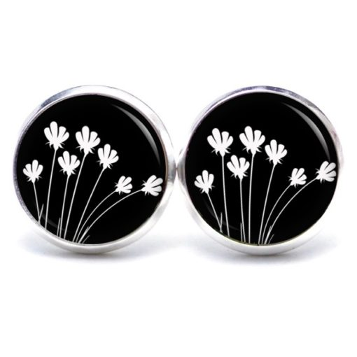 Druckknopf Ohrstecker Ohrhänger schwarz weiße Blumen Tulpen abstrakt