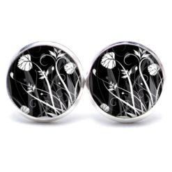 Druckknopf Ohrstecker Ohrhänger schwarz weiße Blumenwiese