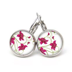 Druckknopf Ohrstecker Ohrhänger zarte rosarote Blumen - Frühling