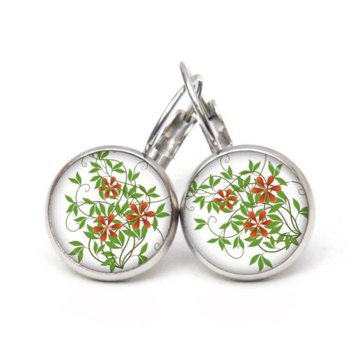Druckknopf Ohrstecker Ohrhänger zarte Blumen rot und grün