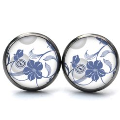 Druckknopf Ohrstecker Ohrhänger mit zart blauen jeansblauen Blumen