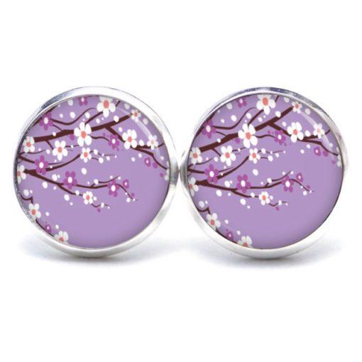 Druckknopf Ohrstecker Ohrhänger zarte japanische Blüten in lila und weiß